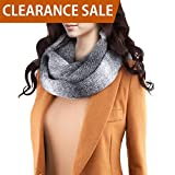 DELUXSEY Womens Oversized Chunky Infinity Scarf (Ombre Grey) - Circle Loop Scarf