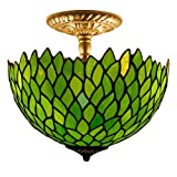Tiffany Ceiling Fixture Lamp Semi Flush Mount 12 Inch Green Wisteria Stained Glass Shade for Dinner Room Pendant Hanging 2 Light