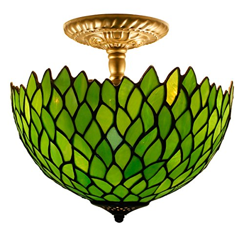 (Tiffany Ceiling Fixture Lamp Semi Flush Mount 12 Inch Green Wisteria Stained Glass Shade for Dinner Room Pendant Hanging 2)