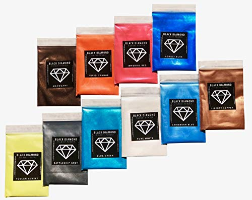 Variety Pack 1 (10 Colors) Mica Powder Pure, 2TONE Series Variety Pigment Packs (Epoxy,Paint,Color,Art) Black Diamond ()