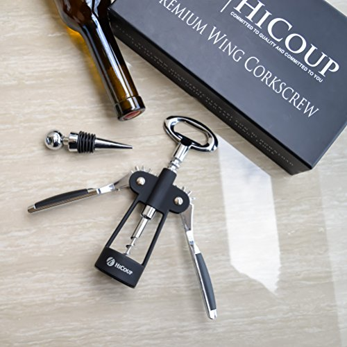 Wing Corkscrew Wine Opener by HiCoup - All-in-one Wine Corkscrew and Bottle Opener With Bonus Wine Stopper in a Deluxe Presentation Box by HiCoup Kitchenware (Image #3)