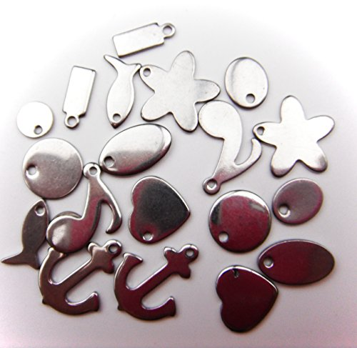 ALL in ONE 20pcs Stainless Steel Stamping Blank Tags Charms Pendant Jewelry Findings