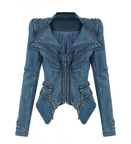 Besetzter Jeans Minetom Blazer Spalla Blu Denim Jacke Lunga Giacca Giacche Punk Con Manica Donna Rivetto 0TTxI