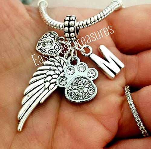 Custom Pet memorial Charm bracelet and necklace and keychain-Paw print heart angel wing Jewelry gift for loss of a pet cat dog