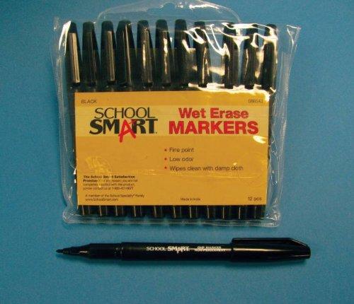 school-smart-low-odor-fine-point-wet-erase-markers-pack-of-12-black