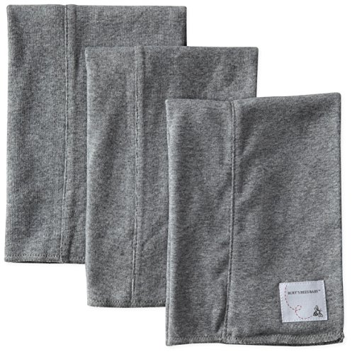 Baby Burp Cloth Set (Burt's Bees Baby - Set of 3 Bee Essentials Solid Burp Cloths, 100% Organic Cotton, Heather Grey)