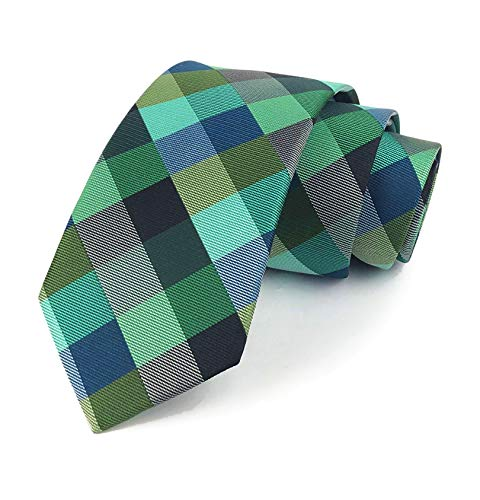 Elfeves Men Modern Tartan Formal Ties Checks Plaid Gingham Pattern Woven Necktie (One Size, Plaid 1) ()