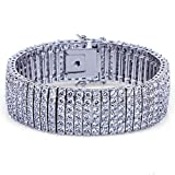 JINAO 8'' 6 Rows 18K Gold Plated Hip Hop Bracelet Iced Out Micro Pave Cubic Zirconia CZ (Silver)
