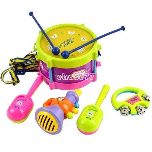 5pcs New Roll Drum Musical Instruments Band Kit Kids Children Toy Gift Set EA77 IGN - Kit Ign
