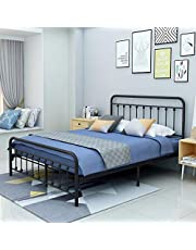 Twin/Full/Queen Size Metal Platform Bed Frame with Vintage Headboard and Footboard No Box Spring Needed Premium Steel Slat Support Mattress Foundation Black/White/Bronze