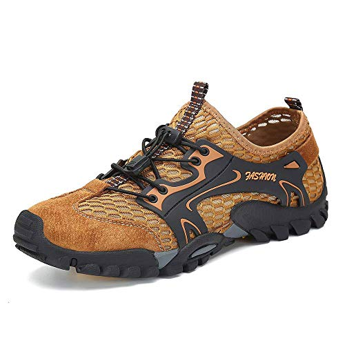 SITAILE Water Shoes Men Women Quick Dry Barefoot Aqua Swim River Shoes for Pool Beach Hiking Walking Shoes Brown Size 10.5