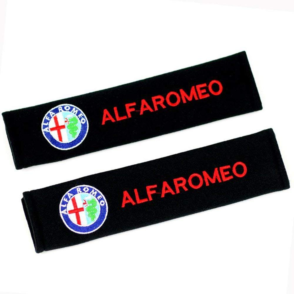 Altergo Seat Belt Covers for Lexus Cars Embroidered Badge Adults and Children Shoulder Pad Opening Acrylic 2 Pack (Alfa Romeo)