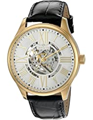 Invicta Mens Vintage Automatic Stainless Steel and Leather Casual Watch, Color:Black (Model: 22568)