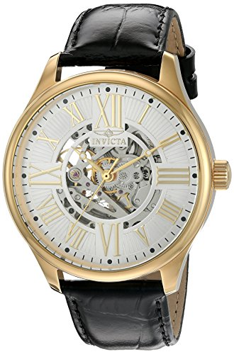 Invicta Men's 'Vintage' Automatic Stainless Steel and Leather Casual Watch, Color:Black (Model: 22568) - Invicta Sapphire Wrist Watch