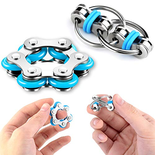 Stress Relief Toys Set - Six Roller Chain & Key Flippy Chain, Novelty Bike Chain Fidget Toys for Pressure Relief, Autism, ADHD, ADD, Anxiety in Classroom, Office, School, Portable Blue