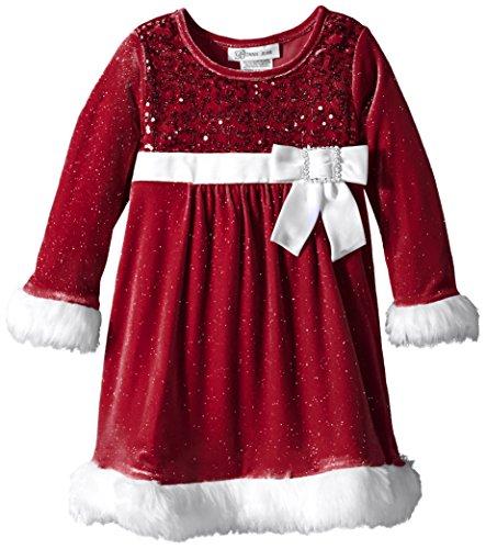Bonnie Jean Little Girls' Toddler Sequin Bodice Santa Dress, Red, 4T