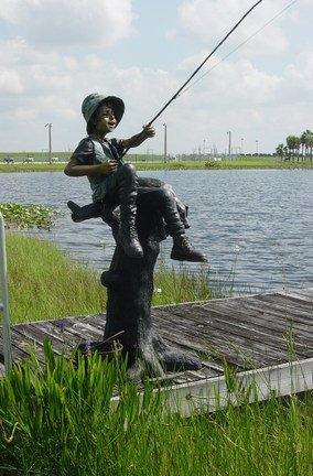 Amazoncom Fresh Catch Boy Fishing Bronze Garden Statue 70