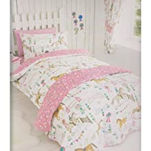 HORSE PONY SHOW TIME DUVET QUILT COVER DAISY PRIZE GIRLS DOUBLE BEDDING SET PINK