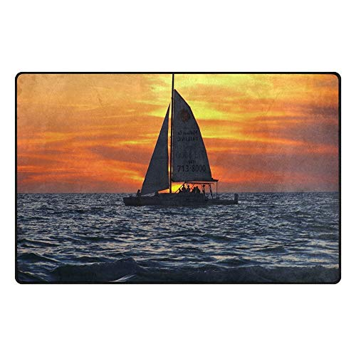 Sailboat Gulf of Mexico Traditional Collection Indoor Area Rug for Living Room Carpet Rugs