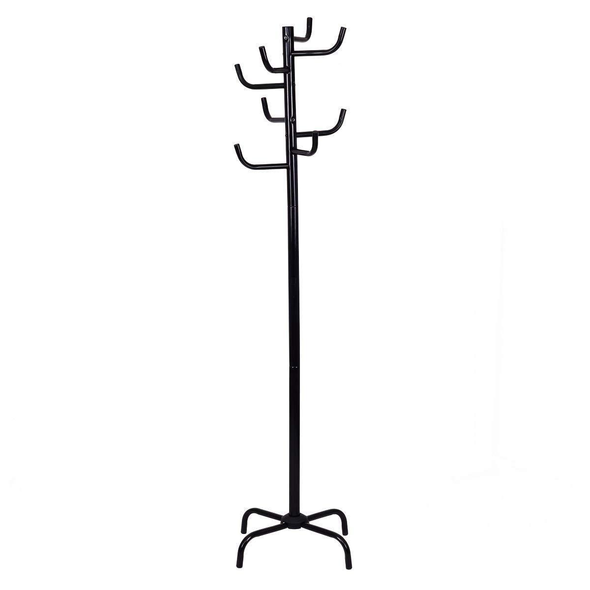 TANGKULA Entryway Coat Rack Coat Tree Hat Jacket Hanger Holder Heavy Duty Free Standing Clothing Rack for Bedroom Living Room Office Hat Coat Umbrella Stand Tree, Back