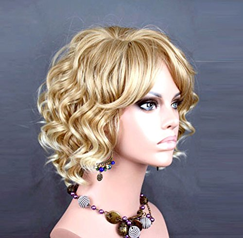 Awesome Lovely Short Wig Curly Blonde mix Summer Style Skin Top Ladies Wigs -
