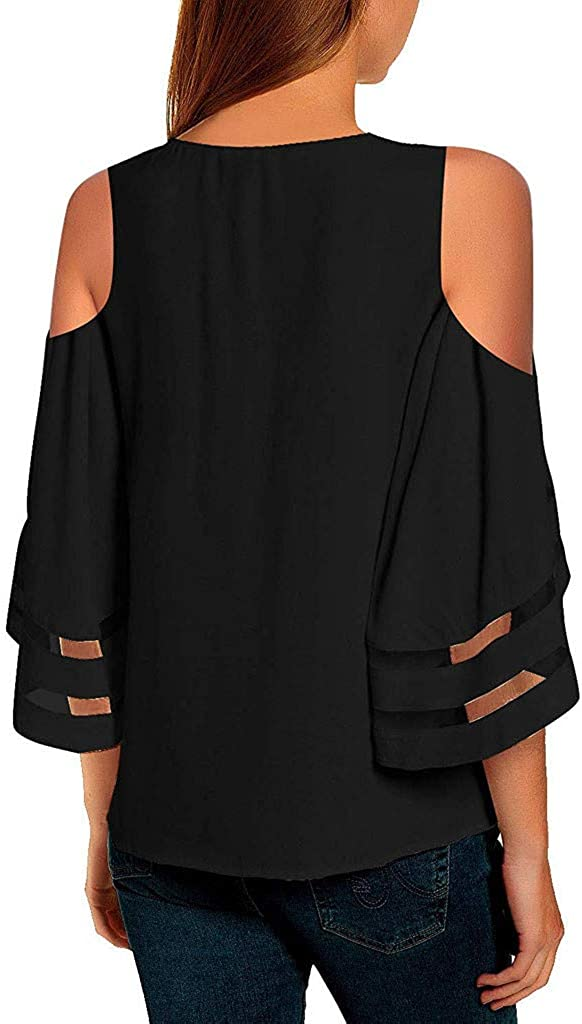 WOCACHI Womens Off Shoulder V Neck Mesh Panel Blouse 3//4 Bell Sleeve Tops Shirts