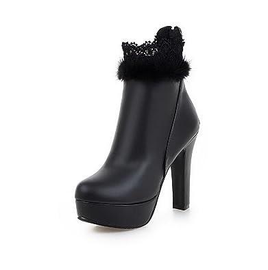 Women's Zipper Round Closed Toe High Heels Low-Top Boots