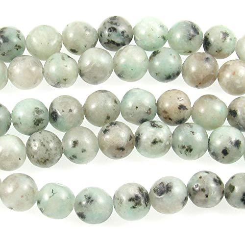 (Kiwi Sesame Lotus Jasper Round Gemstone Beads 15
