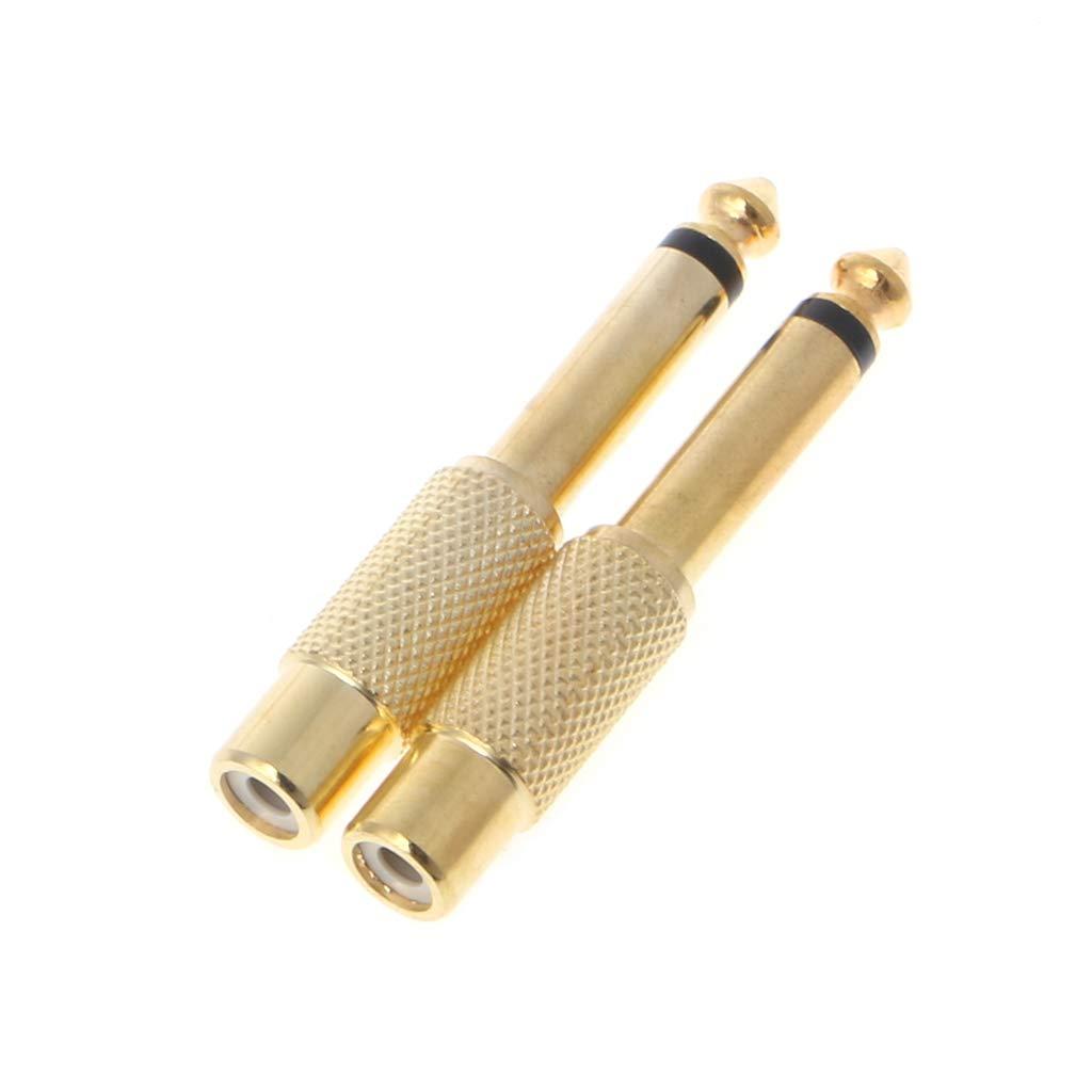 Gold JOYKK 2 St/ück 6,35 mm 1//4Mono-Klinkenstecker auf Cinch-Buchse Audio Adapter Kabel Konverter
