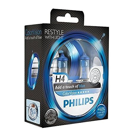 Philips ColorVision Bombilla para faros delanteros azul 12342CVPBS2 - bombilla para coches (55W, H4, Fog light, High beam, Luz interior, Low beam, ...