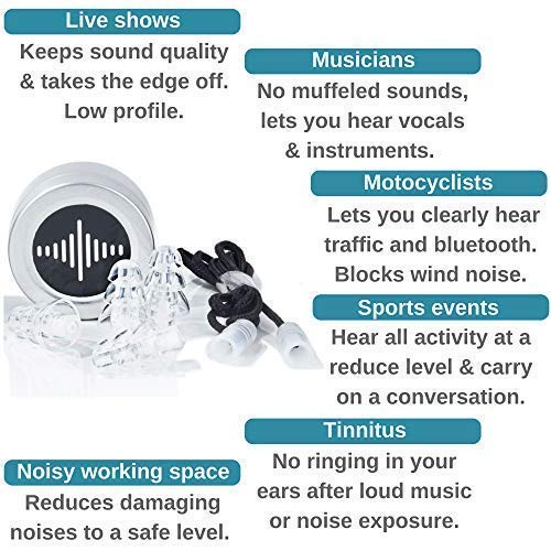 BetterSound High Fidelity Ear Plugs|Noise Cancelling Reusable Earplugs For Concerts Musicians Parties Motorcycle helmet|db Reduction Filter|Tinnitus Protection