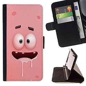 Momo Phone Case / Flip Funda de Cuero Case Cover - Cartoon Pink Dientes Ojos caracteres - Samsung Galaxy J3 GSM-J300