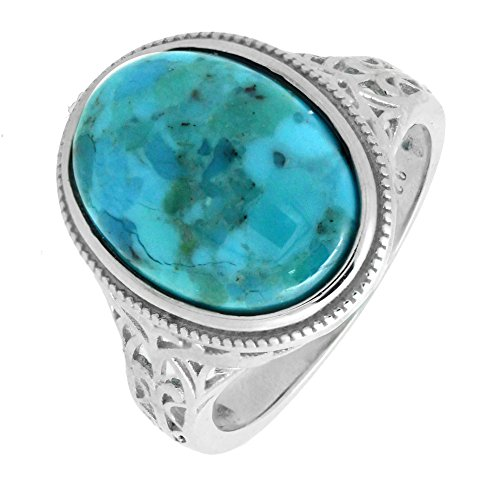 (BL Jewelry Sterling Silver Oval Genuine Turquoise Cocktail Ring in Vintage Style (6))