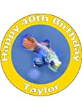 7.5' Pet Tropical Fish and Aquarium Edible Image Cake Toppers Personalized on Edible Rice Paper - [Use 'Contact Seller' link to send your personalized message.]