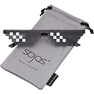 SojoS Deal With It Glasses Thug Life 8 Bit Style Pixel Unisex Sunglasses SJ2049 with Double Row Small Frame