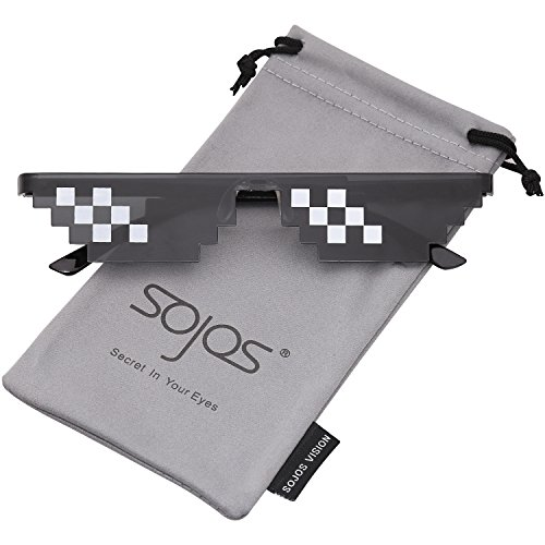 SOJOS Thug Life 8 Bit Style Pixel Unisex Sunglasses SJ2049 with Double Row Small Frame -