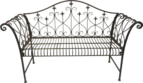 Fine Vintage Look Metal Outdoor Garden Bench With Ornamented High Backrest Caraccident5 Cool Chair Designs And Ideas Caraccident5Info