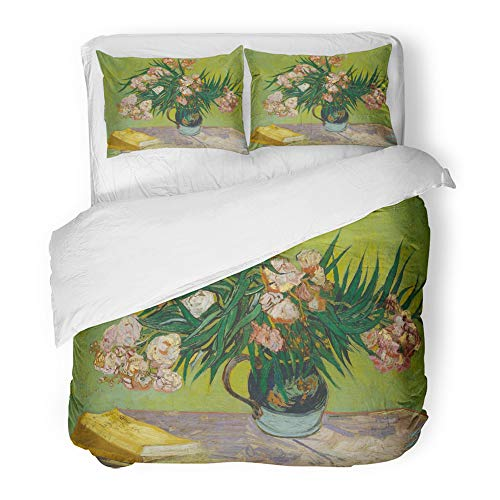 Emvency Decor Duvet Cover Set Full/Queen Size Oleanders by Vincent Van Gogh 1888 Dutch Post Impressionist Oil on Canvas The 3 Piece Brushed Microfiber Fabric Print Bedding Set Cover