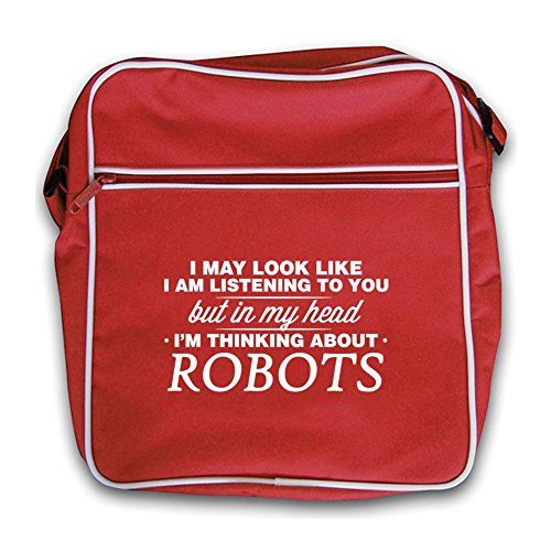 My I'm Head Flight Retro Robots Bag In Black Red gdqwE1p