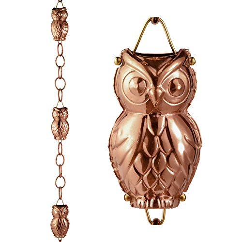 Good Directions Owl Pure Copper Rain Chain (8.5 Feet) 22 Gauge, Includes Gutter Installation (Rain Chain Gutter Installation Clip)
