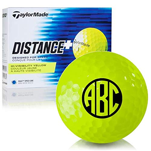 - Taylor Made Distance+ Yellow Monogram Personalized Golf Balls
