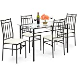 Best Choice Products 5-Piece Glass Table Dining Set w/Chairs (White) Review