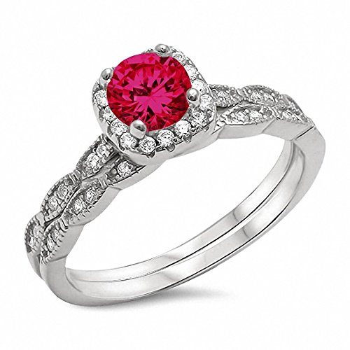 Ruby Silver Bands - Two Piece Halo Art Deco Wedding Engagement Ring Band Simulated Ruby 925 Sterling Silver,Size-9