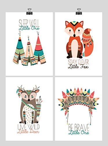 Tribal Nursery Prints - Boho Motivational Nursery Art Print Set of 4 - Multiple Sizes