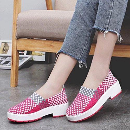 Giy Mocasines Casuales Para Mujer Zapatillas Slip-on Con Plataforma Tejiendo Mocasines Coloridos Y Transpirables Mocasín Rose Red