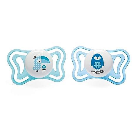 color azul modelos aleatorios Chicco Physio Micr/ò Pack de dos chupetes de silicona reci/én nacido 0-2 meses