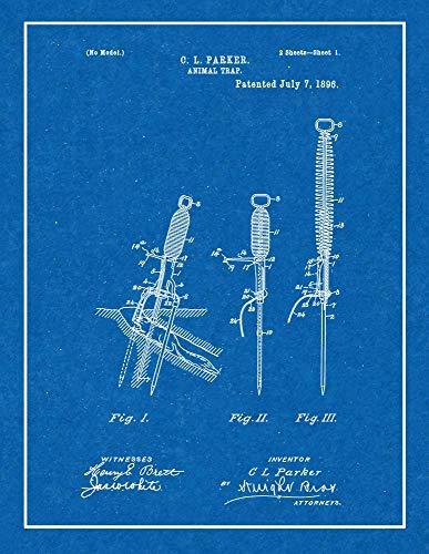 "Animal Trap Patent Print Blueprint with Border (5"" x 7"") M14715"