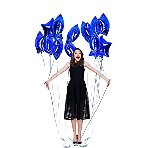 Treasures Gifted Navy Blue Birthday Decorations for Boys with Glitter Metallic Stars | 18-Inch Party Helium Balloons for Quinceanera, Baby Boy Shower or Birthday | Pack of 12