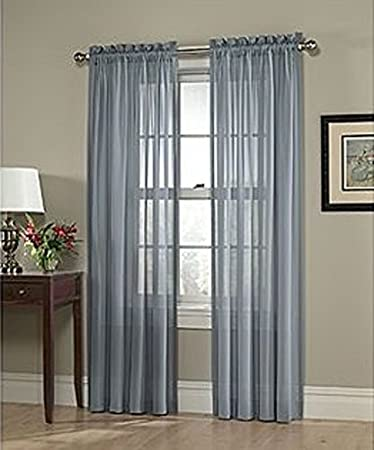 Amazon.com: LuxuryDiscounts 2 Piece Solid Slate Blue Elegant Sheer ...