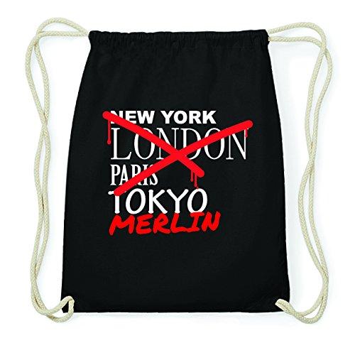 JOllify MERLIN Hipster Turnbeutel Tasche Rucksack aus Baumwolle - Farbe: schwarz Design: Grafitti